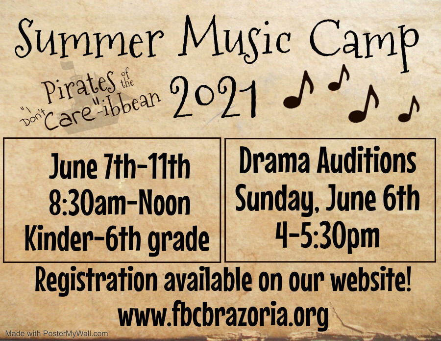 Children's Music Camp for K (completed) thru 6th Grade - 8:30 a-Noon